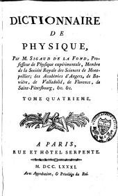 Dictionnaire de physique: et Supplément au Dictionnaire de physique, Volume4
