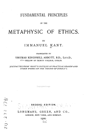 Fundamental Principles of the Metaphysics of Ethics