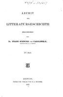 Archiv f  r Litteraturgeschichte PDF