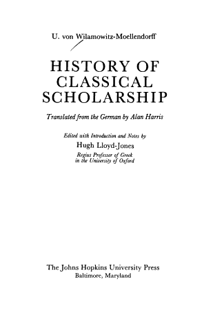 History of Classical Scholarship PDF