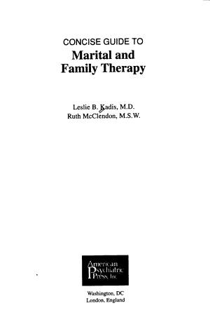 Concise Guide to Marital and Family Therapy PDF