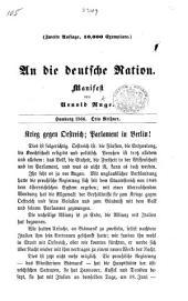 An die deutsche Nation. Manifest von A. Ruge. Zweite Auflage