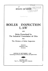 Boiler Inspection Law and Rules Formulated by the Industrial Commission of Ohio for the Division of Boiler Inspection