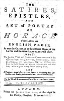 The Satires  Epistles  and Art of Poetry of Horace Translated Into English Prose  as Near the Original as the Different Idioms     Will Allow  With the Latin Text and Order of Construction in the Opposite Page     The Third Edition PDF