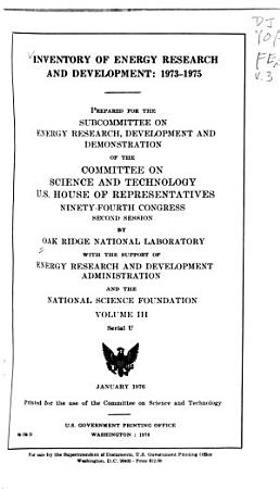 Inventory of Energy Research and Development  1973 1975 PDF