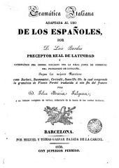 Gramática italiana: Adaptada al uso de los españoles