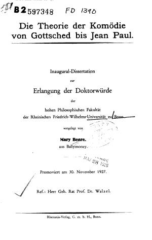 Die Theorie der Kom  die von Gottsched bis Jean Paul PDF