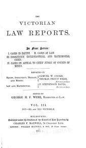 The Victorian Law Reports: Volume 3