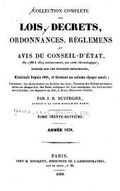 Collection complète des lois, décrets d'intérêt général, traités internationaux, arrêtés, circulaires, instructions, etc: Volume38