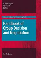 Handbook of Group Decision and Negotiation PDF