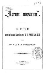 Rerum Novarum: rede over de jongste Encycliek van Z. H. Paus Leo XIII