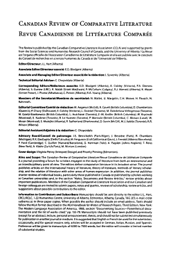 Canadian Review of Comparative Literature PDF