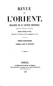 Revue de l'Orient: bulletin de la Société Orientale, Volumes7à8
