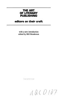 The Art of Literary Publishing PDF