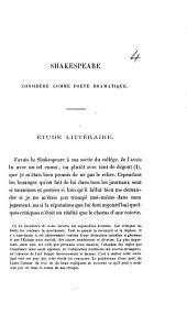 Shakespeare considéré comme poète dramatique. Étude littéraire