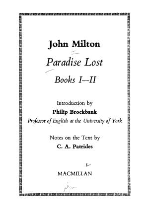 Paradise Lost  Books 1 2