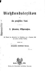 Viehstandslexikon für den Preussischen staat ...: Auf grund der materialien der viehzählung vom. 1. dezember 1892 und anderer amtlicher quellen