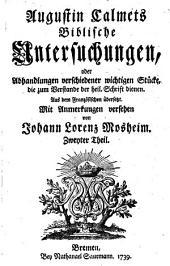 Biblische Untersuchungen, oder Abhandlungen verschiedener wichtigen Stücke, die zum Verstande der heil. Schrift dienen: Band 2