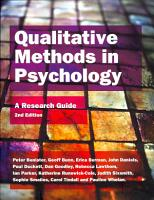 Qualitative Methods In Psychology  A Research Guide PDF