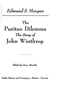 The Puritan Dilemma Book
