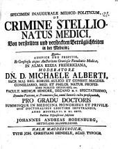Specimen inaug. med. pol. de crimine stellionatus medici