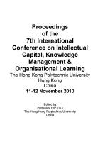 ICICKM2010 Proceedings of the 7th International Conference on Intellectual Capital  knowledge Management and Organisational Learning PDF