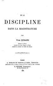 De la discipline dans la magistrature
