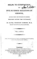 Helps to Composition, Or, Five Hundred Skeletons of Sermons: pt.1. Sermons numbered CI through CCXIX
