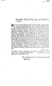 Pointen tot de vergadering van haar edele groot mogende teegen de 26 november 1771