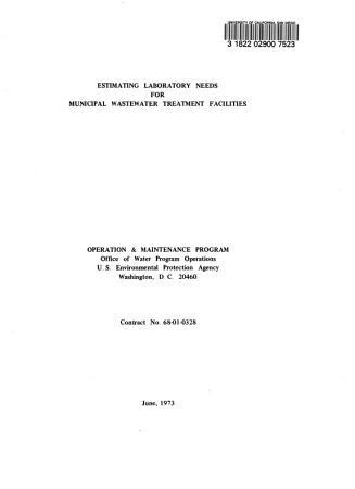 Estimating Laboratory Needs for Municipal Wastewater Treatment Facilities PDF