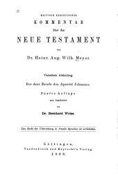 Kritisch-exegetischer Kommentar ub̈er das Neue Testament: Bände 14-15