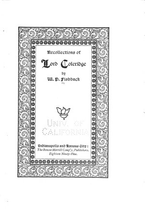 Recollections of Lord Coleridge