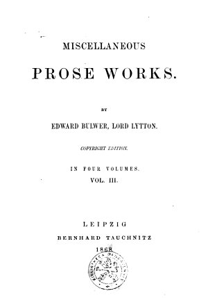 Miscellaneous prose works