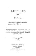 Letters from B A C   Afghanistan 1878 80 PDF