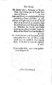"A Table of the principal matters contained in Mr. Addison's ""Remarks on several Parts of Italy, &c. in the years 1701, 1702, 1703."" [A satire.]"