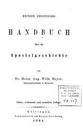 Kritisch exegetisches Handbuch über die Apostelgeschichte
