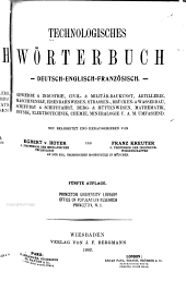 Technologisches wörterbuch, deutsch-englisch-französisch: bd. deutsch-englisch-französisch