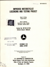 Improved Motorcyclist Liscensing [i.e. Licensing] and Testing Project: Volume 1