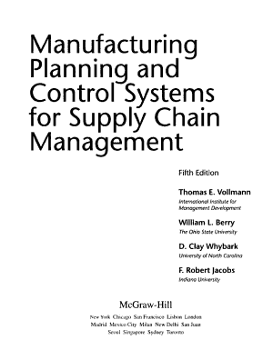 MANUFACTURING PLANNING AND CONTROL SYSTEMS FOR SUPPLY CHAIN MANAGEMENT PDF