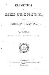 Elementos del derecho público provincial pára la República Argentina