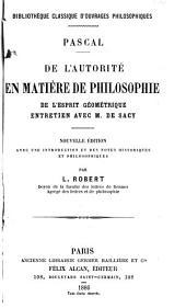 De l'autorité en matière de philosophie: De l'esprit géométrique