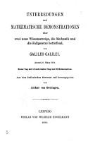 Unterredungen und mathematische demonstrationen   ber zwei neue wissenszweige  die mechanik und die fallgesetze betreffend PDF