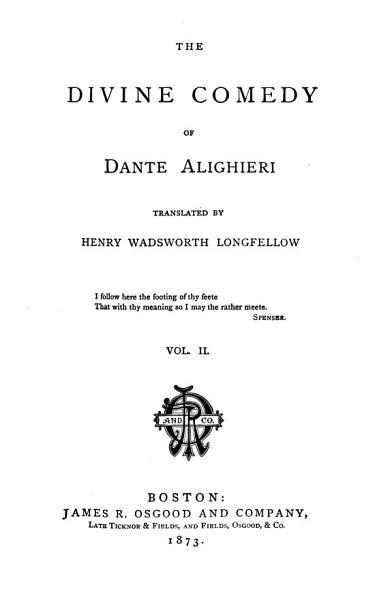 The Divine Comedy of Dante Alighieri: Purgatorio. 1873