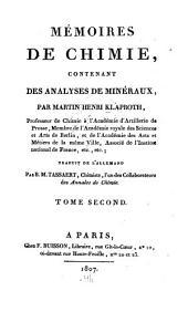 Mémoires de chimie: contenant des analyses de minéraux, Volume2