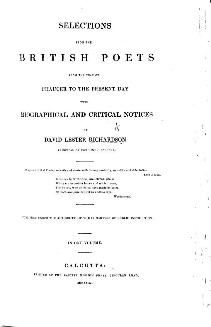 Selections from the British Poets from the time of Chaucer to the present day; with biographical and critical notices by D. L. Richardson