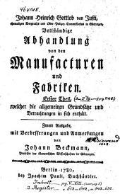 Vollständige Abhandlung von den Manufacturen und Fabriken
