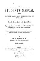 The student s manual of the history  laws and constitution of England PDF