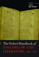 The Oxford Handbook of English Law and Literature  1500 1700 PDF