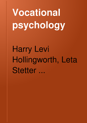 Vocational Psychology: Its Problems and Methods