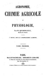 Agronomie, chimie agricole et physiologie